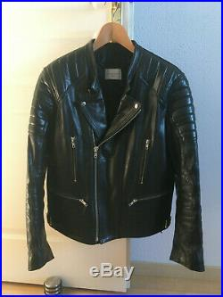 SANDRO homme taille M veste en cuir Daytona blouson perfecto noir motard YSL