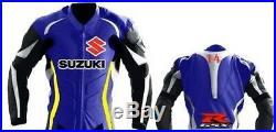 SUZUKI GSXR Cavalier Bleu Cuir Veste MOTOGP Motard Moto Armure Protecture Adulte