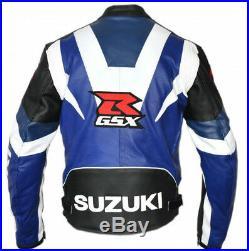 SUZUKI GSXR Hommes Sports Cuir Veste Moto Cuir Veste Cuir Biker Veste EU-50-58