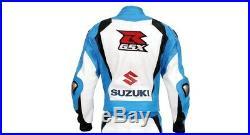 SUZUKI GSXR Moto Cuir Veste Hommes Sports Motard Armure Courses Adultes EU-50-60