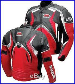 SUZUKI GSXR Sports Cuir Veste Hommes Moto Cuir Motard Armure Protection EU-50-58