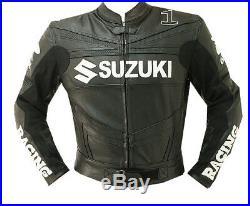 SUZUKI GSXR Sports Cuir Veste Hommes Moto Cuir Veste Cuir Biker Veste EU-50-58