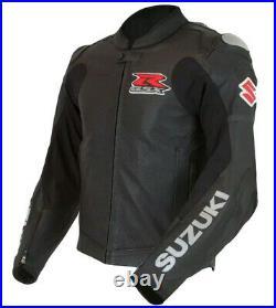 SUZUKI GSXR Veste en Cuir de Motard Hommes Courses Veste en Cuir de Moto S-40