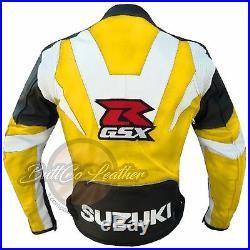 SUZUKI GSX Motard Moto Course Jaune Veste De Cuir Authentique pour motocycliste