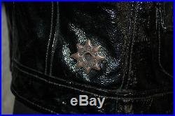 Sab / Veste Blouson Style Perfecto En Cuir Noir Verni Guess T Xs 36