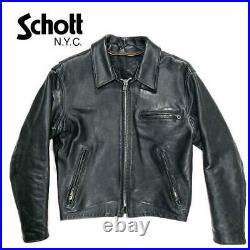 Schott Cuir Simple Motards Veste Blouson Noir Homme 38 Vintage De Japon
