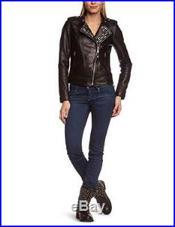 Schott Nyc Blouson Veste Femme Lcw3606 Neuf Col Clouté Cuir Noir Taille XL