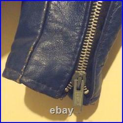 Schott Perfecto Cuir Rider Veste Blouson Extérieur Manteau Bleu Homme 36 Vintage