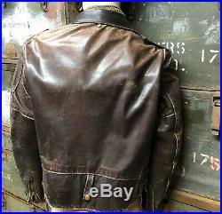 Schott Perfecto Lacets1980 Cuir Marron Blouson Taille 46 Vintage USA