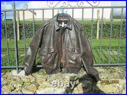 Schott flight jacket leather size taille 50 US XL cuir marron bon état blouson