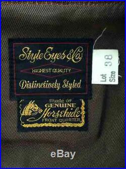 Style Eyes & Co. Cuir de Cheval Cuir Veste Blouson Marron Taille 38 Utilisé