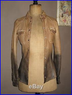 Superbe Blouson Veste Chemise Dolce Gabbana T 36 Fr 40 It Cuir D'agneau Tttbe