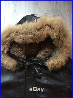 Superbe Veste Manteau Blouson Redskins Cuir Noir Fourrure Taille XL 42 Neuf