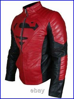 Superman Motor Veste En Cuir Moto Chaqueta De Cuero Motorrad Leder Jacke Ce