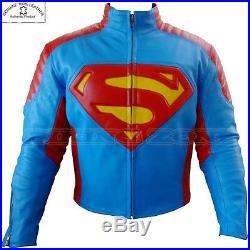 Superman Style Renfort Ce Hommes Moto / Moto Veste en Cuir de Vachette