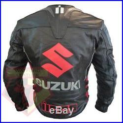 Suzuki 4269 Noir Moto Cuir Vachette Moto Ce Renforcé Veste de Motard