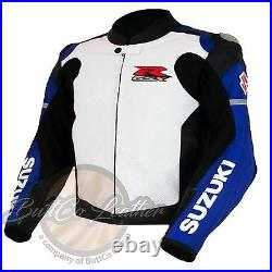 Suzuki 4316 Bleu Moto Motard Cuir de Vache Veste Cuir Véritable Gear