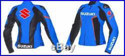 Suzuki GSXR Veste en Cuir de Moto Courses Femmes MOTOGP Vestes de Motard en Cuir