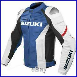 Suzuki GSXR Veste en Cuir de Moto Courses Hommes MOTOGP Vestes de Motard en Cuir