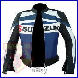 Suzuki GSX Bleu Moto Motard Cuir Vachette Protection Veste