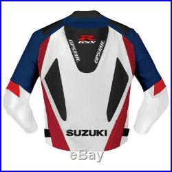 Suzuki GXSR Moto Coureur Vestes Cuir Moto Motard Sport Leather Jacket Protecteur