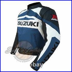 Suzuki Gsxr Moto Motard Bleu Marine Cuir Veste Moto Protection Gear