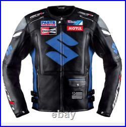 Suzuki Hommes Moto Veste en Cuir Courses Piste MOTOGP Veste de Motard en Cuir CE