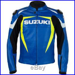 Suzuki Hommes Motor Veste En Cuir Moto Chaqueta De Cuero Motorrad Leder Jacke Ce
