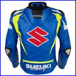 Suzuki Moto Cuir Veste Courses Biker Cuir Veste Vêtement En Cuir Motorbike Eu-56