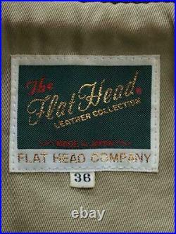 THE FLAT HEAD A2 Vol Veste Blouson Simple Cuir Vachette Marron Taille 36 Utilisé