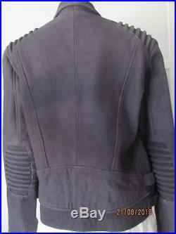 THE KOOPLES blouson veste cuir biker perfecto bleu nuit agneau nubuck 40 38