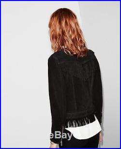 THE KOOPLES veste blouson cuir franges jacket fringed daim suede cuir S