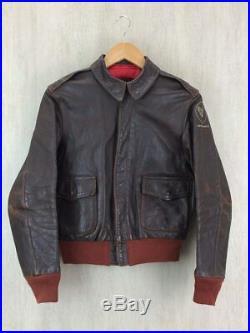 The Real Mccoy's Authentique Cuir Blouson A-2 Vol Veste Marron Taille 36 Utilisé