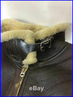 The Real Mccoy's Authentique Cuir Veste Blouson Marron Hommes Taille L Utilisé