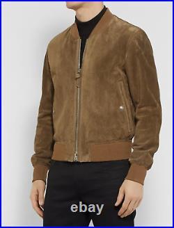 Tom Ford Emblématique Perforated suede bomber jacket Cuir Veste Pilot Blouson 48