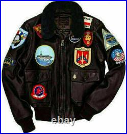 Top Gun Peter Maverick Tom Cruise Blouson en cuir Bomber col en fourrure Aviator