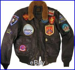 Top Gun Tom Cruise Style Homme Blouson Véritable Cuir Fourrue Aviateur Veste