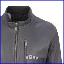 Trapper Veste homme en cuir blouson bleu marine Henk 181039 550