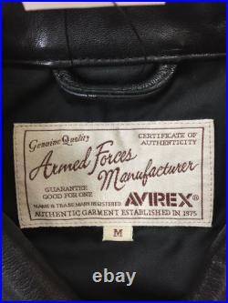 Utilisé AVIREX Veste Cuir Blouson / M / Peau de Mouton / Noir / Uni / 6191055