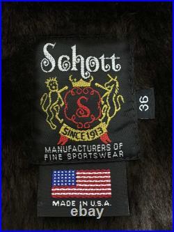 Utilisé Schott Veste Cuir Blouson 36 Cuir de Vache Brw Uni pour Hommes