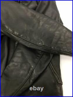 Utilisé Schott Veste Cuir Blouson 36 Noir Doublure Manquant pour Hommes