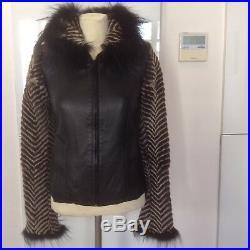 VALENTINO Veste Blouson Fourrure Et Cuir 38 It XXS (2200)