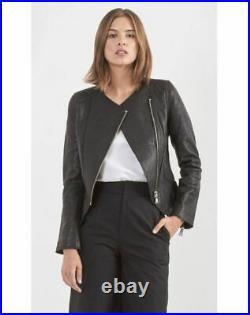 VANESSA BRUNO 675 Blouson veste perfecto cuir noir NEUF ETIK BNT Leather jacket