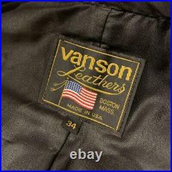 VANSON Cuir Motards Veste Blouson Extérieur Noir Homme 34 Logo Avec Séries Tag