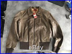 VESTE / Blouson Cuir LEVIS Type 1 MIXTE Vintage Medium Marron Taille M