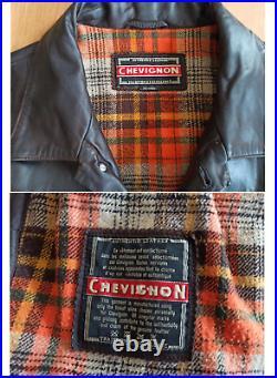 VINTAGE 80's CHEVIGNON BLOUSON COUPE CLASSIC CUIR GRAS NUBUCK TAILLE XL/XXL