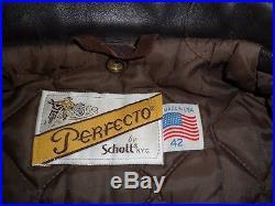 VINTAGE BLOUSON motard veste PERFECTO CUIR /SCHOTT/ MADE IN USA/ 42 / ETAT NEUF