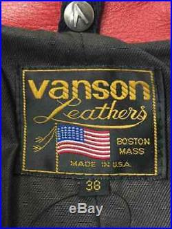Vanson Authentique 3rd Type Cuir Veste Blouson Taille Rouge 38 Utilisé