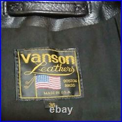 Vanson Enf Cuir Rider Veste Blouson Extérieur Homme 36 Noir Biker Harley Utilisé