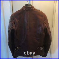 Vanson Simple Motards Veste Extérieur Blouson Cuir Brun Homme Taille 38 Original